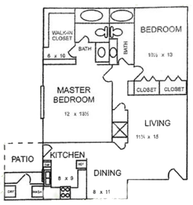 Plan A-1 - Two Bedroom / Two Bath / With Yard - 1,110 Sq. Ft.*