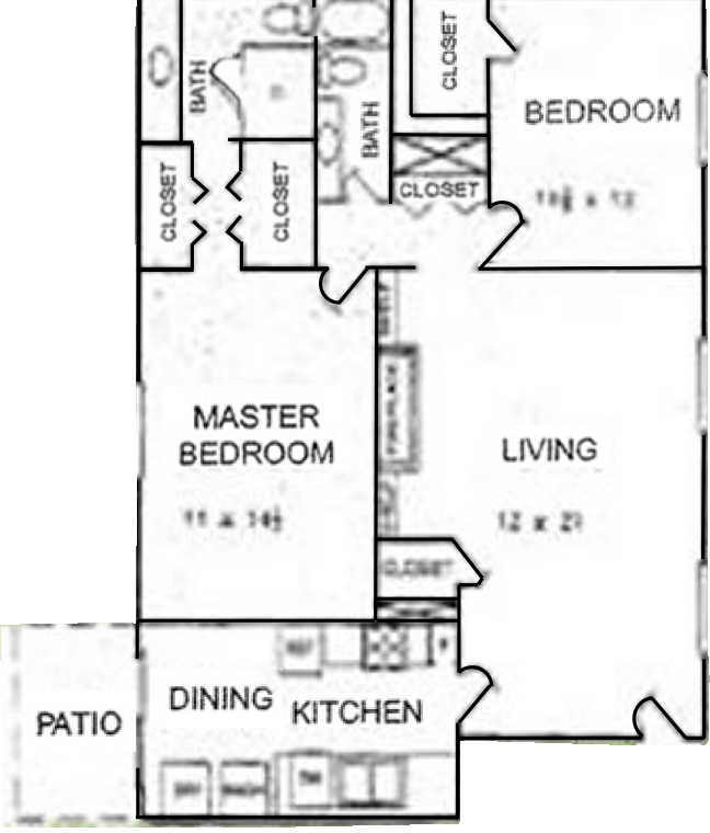Plan B-1 - Two Bedrooms / Two Bath / With Yard - 1,232 Sq. Ft.*