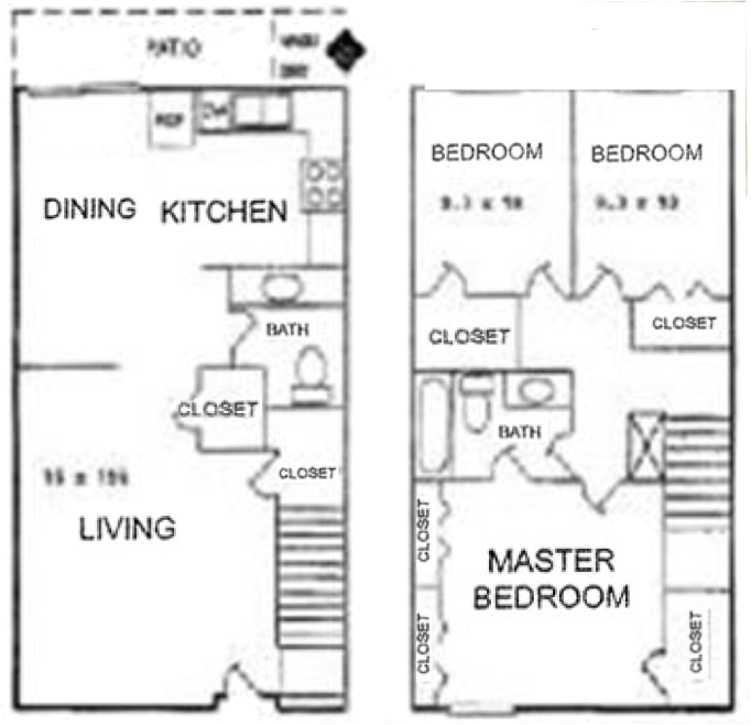 Plan C-2 - Three Bedrooms / One & 1/2 Bath - 1,400 Sq.Ft.*
